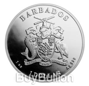 Barbados 1 oz Silver Caribbean Seahorse