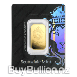 1 oz Scottsdale gold bar in assay card