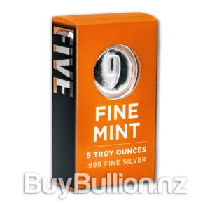 5 oz Silver 9 Fine Mint Bar box