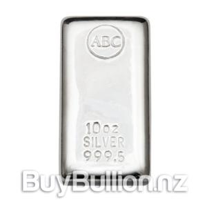 10 oz 99.9% silver ABC bar